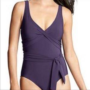 NWOT lands end purple decorative tie bathing suit